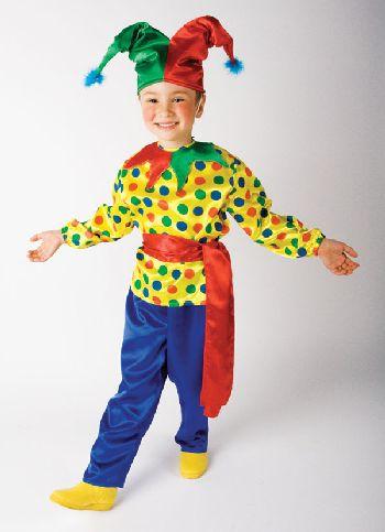 Новогодний костюм СКОМОРОХ (3-12 лет) колпак, рубашка, пояс, брюки Н68485