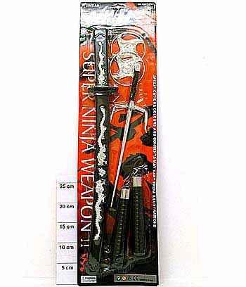 Набор Ниндзя, Набор игрушечного оружия Ниндзя артикул К13252, 70х19 см , №2491 , дополнительный аксессуар к карнавальным костюмам ниндзя, Ниндзя Красный Огонь, Ниндзя Дракон, Черепашка-ниндзя, Наруто.