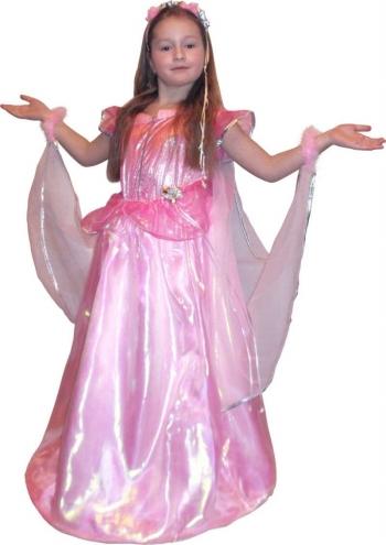 Детский карнавальный костюм Принцессы-Феи, розовая цветочная фея фирмы Snowmen, артикул Е70826 . Роскошное нарядное бальное платье со шлейфом, браслетами из пуха, в комплекте ободок с атласными лентами и цветами.  Платье Авроры из мультфильма Диснея