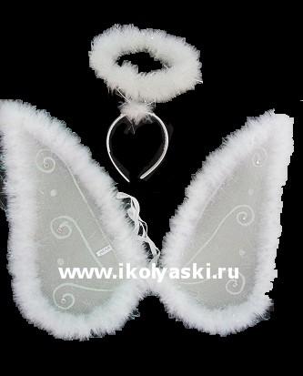 Карнавальный набор Ангела, в комплекте:  ободок с ореолом (нимбом), крылья со стразами, размер крыльев 40 см,  2 цвета, артикул Е91181, фирма Snowmen