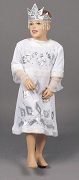 Карнавальный костюм Снежинки, белое платье и кокошник, код 132278, артикул CV 195-A, Лапландия. Карнавальный новогодний костюм Снежинки в русском национальном стиле.