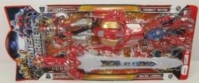 Набор из 2-х игрушечных роботов-трансформеров с маской робота трансформера  и светящимся мечом