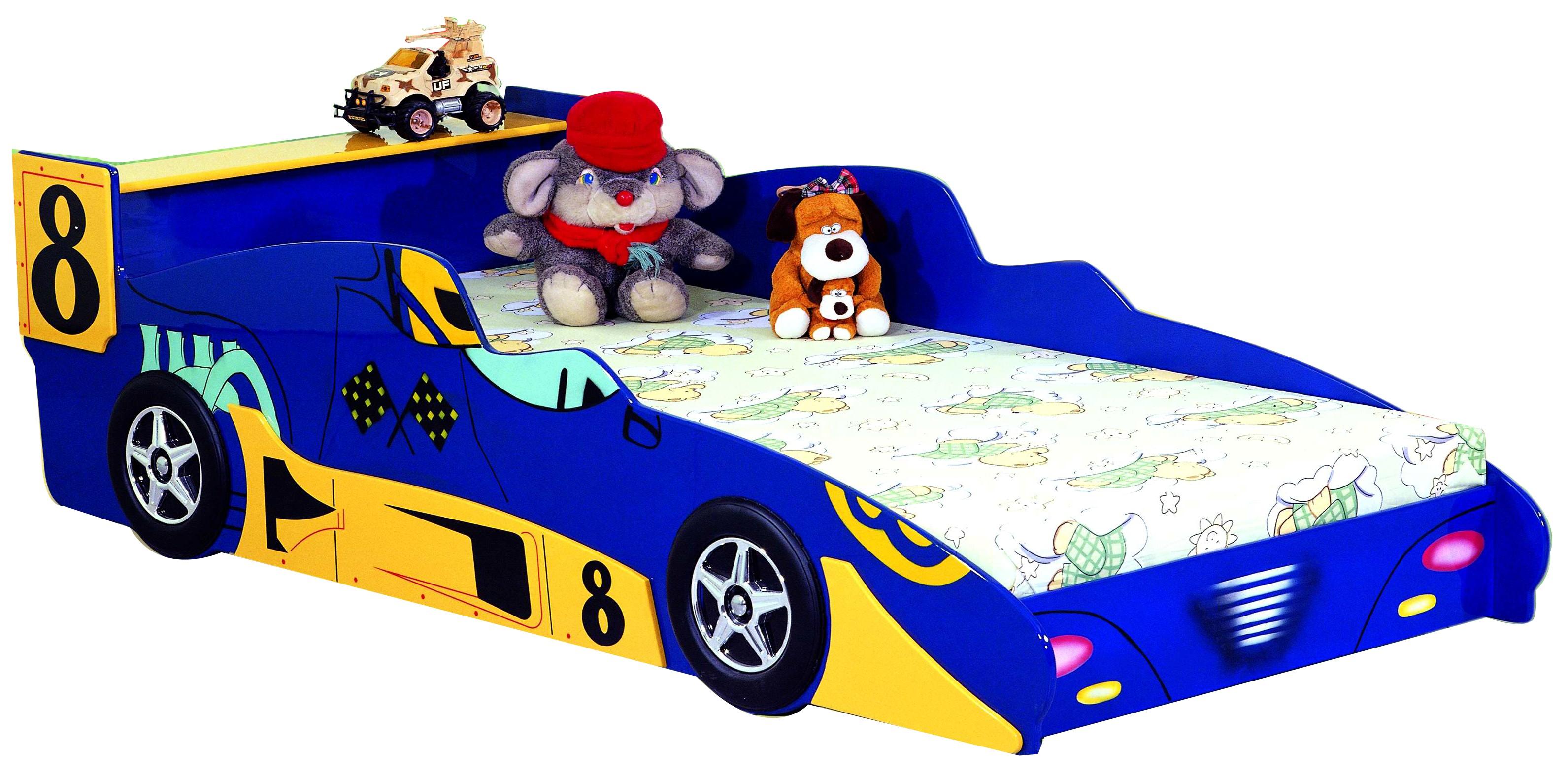 Детская кровать - Гоночная машина Формула 1 -  Racing Car F1, артикул 350, кровать для ребенка в возрасте от 3-х до 16 лет, в комплекте с матрасом, кровать машина из МДФ, цвета красный или синий, кровать-машина