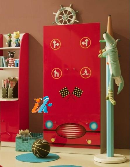 Американская детская мебель. Спальня для 2-х детей, кровать-машина, артикул 351, МДФ , 10 предметов, детскую мебель купить, кровать машина для мальчика купить