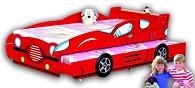 Детская кровать - Гоночная машина  Racing Car, артикул 351, кровать для двойни из МДФ,  цвет красный, кровать-машина для двоих детей, для погодок,  с нижним выдвижным спальным местом, в комплекте с 2-мя кокосовыми матрасами, размер ложа 190х90 см. Удобная кровать для 2-х детей, компактная, прекрасно разместится даже в малогабаритной квартире.