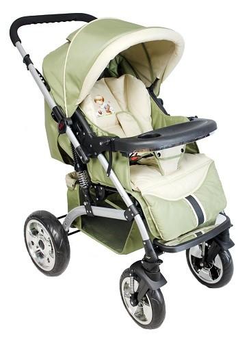 Детская всесезонная прогулочная коляска с перекидной ручкой, легкая, на больших пируэтных колесах -  Ecobaby Jungle, цвет 047 светло-оливковый с бежевым, детскую прогулочную коляску с перекидной ручкой купить