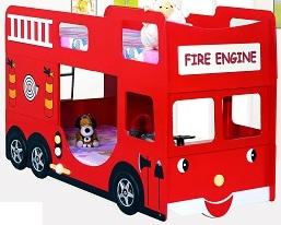 2-х ярусная кровать Пожарная машина, материал МДФ,  цвет красный, 2 кокосовых матраса в комплекте, размер ложа 190х90 см. Кровать для двух детей.