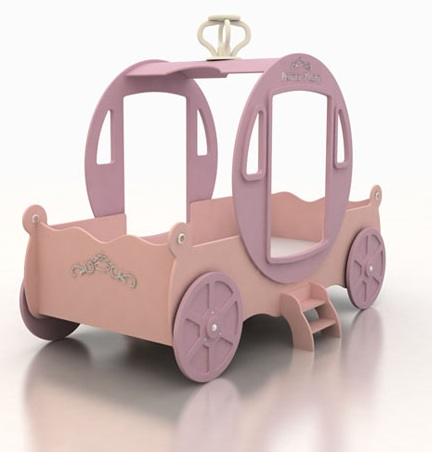 Кровать - карета  Принцессы, материал МДФ,  розовая кровать  для девочек, кокосовый матрас в комплекте.