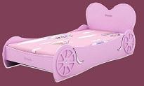 Детская Кровать Принцессы, Princess Love Bed,  материал МДФ, цвет розовый, кокосовый матрас в комплекте, размер ложа 190х90 см, спинка в виде сердечка.