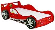 Детская кровать-машина. Кровать - Гоночная машина Макларен - Mc Laren Racing Car, артикул 998, кровать для ребенка в возрасте от 3-х до 16 лет, в комплекте с кокосовым матрасом, кровать машина из МДФ, со светящимися фарами