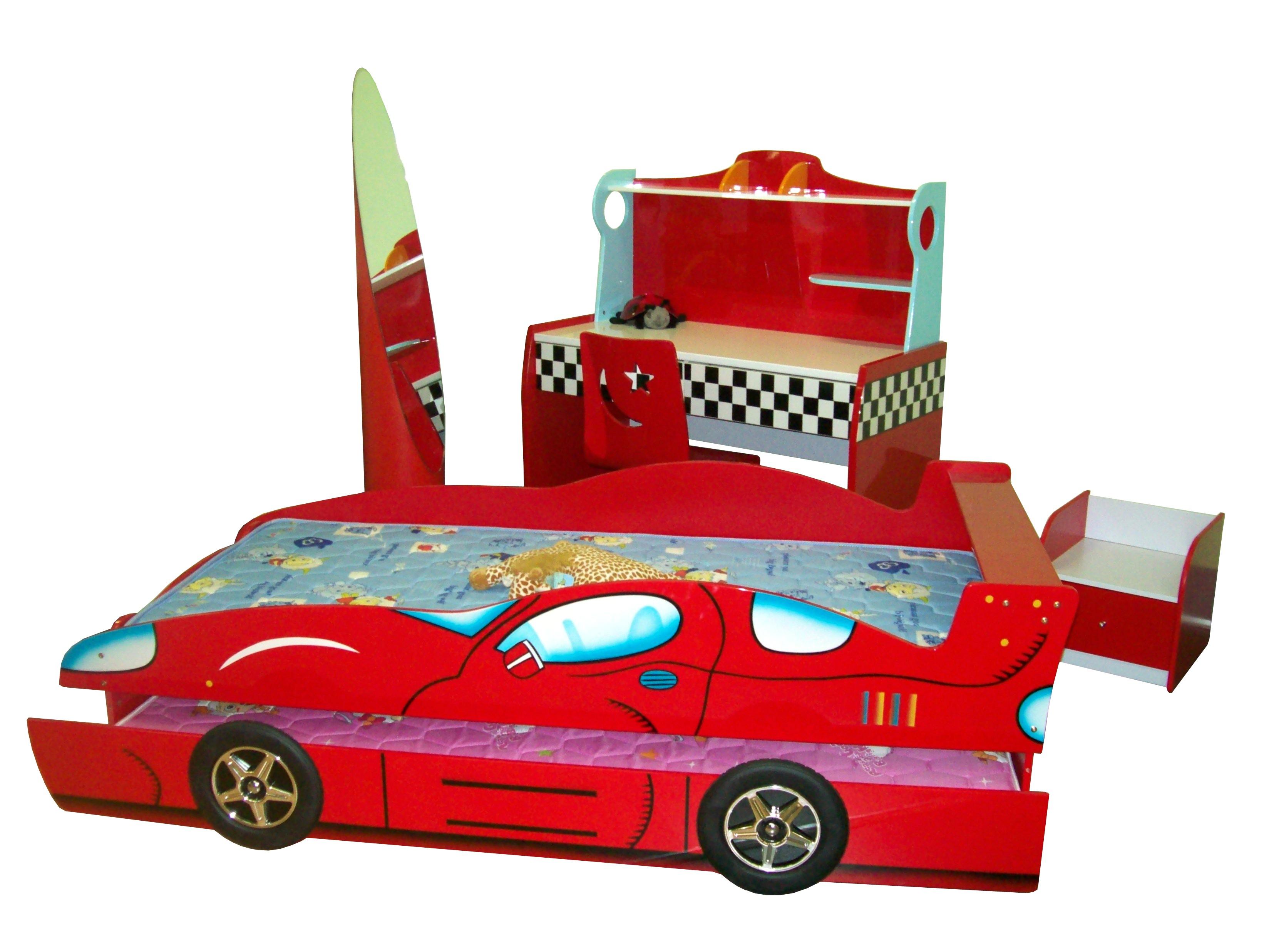 Комплект детской и подростковой мебели, Спальня для 2-х детей с 2-х уровневой  кроватью-машиной в комплекте с 2-мя матрацами,  10 предметов, материал МДФ, артикул 351, цвет красный
