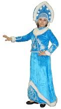 карнавальный новогодний  костюм СНЕГУРОЧКИ для взрослых, в комплекте:  длинная юбка с серебряным рисунком и стразами снизу, короткая шубка, топ, кокошник, цвет голубой,  код 132274, артикул CV-175