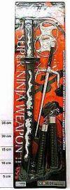 Набор ниндзя, Набор игрушечного оружия ниндзи артикул К13252, оружие ниндзи, аксессуар к карнавальному костюму японского воина, ниндзи, катана, меч, нунчаки, звездочки, сюрикены
