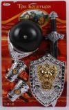 Набор рыцарского оружия: доспехи, меч, шлем с забралом, на картонке 63х38 см, артикул 1373-Н3-117R, код 156343,  Лапландия, купить оружие рыцаря, рыцарское оружие купить, детское игрушечное оружие рыцаря, рыцарское оружие для ребенка, набор игрушечно