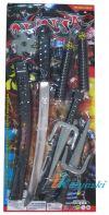 Набор оружия ниндзя, Набор игрушечного оружия ниндзя Набор оружия ниндзя, Набор игрушечного оружия ниндзи артикул К13252, оружие ниндзи, аксессуар к карнавальному костюму японского воина, ниндзи, катана, меч, нунчаки, звездочки, сюрикены