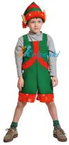 Детский карнавальный костюм Эльфа для мальчика, костюм эльфа помощника Санты, ТКАНЬ-ПЛЮШ, артикул 2046, безразмерный, рост 98-128 см
