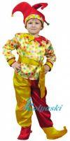 Костюм Петрушки, костюм Скомороха. Детский карнавальный костюм сказочного Петрушки фирмы Карнавалия, на 7-10 лет, размер М на рост 128-134 см, штаны красные с желтым. Костюм Петрушки, костюм Скомороха. Детский карнавальный костюм сказочного Петруш