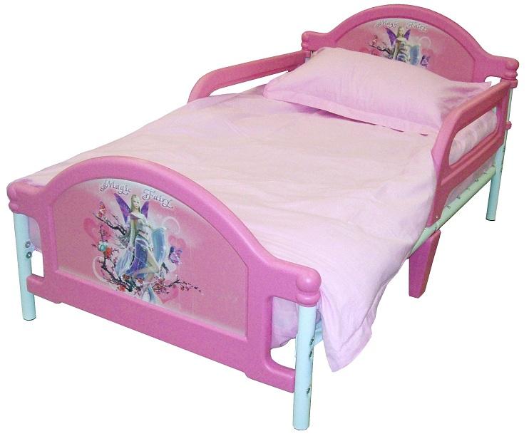 Детская кровать Джуниор Magic Fairy - Кровать Волшебная Фея, кровать с боковыми защитными бортиками, для дошкольника, кровать от 3 лет, до 6 лет, металл, пластик. Кровать с комплектом: постельное белье, одеяло, подушка, Самая безопасная детская кро