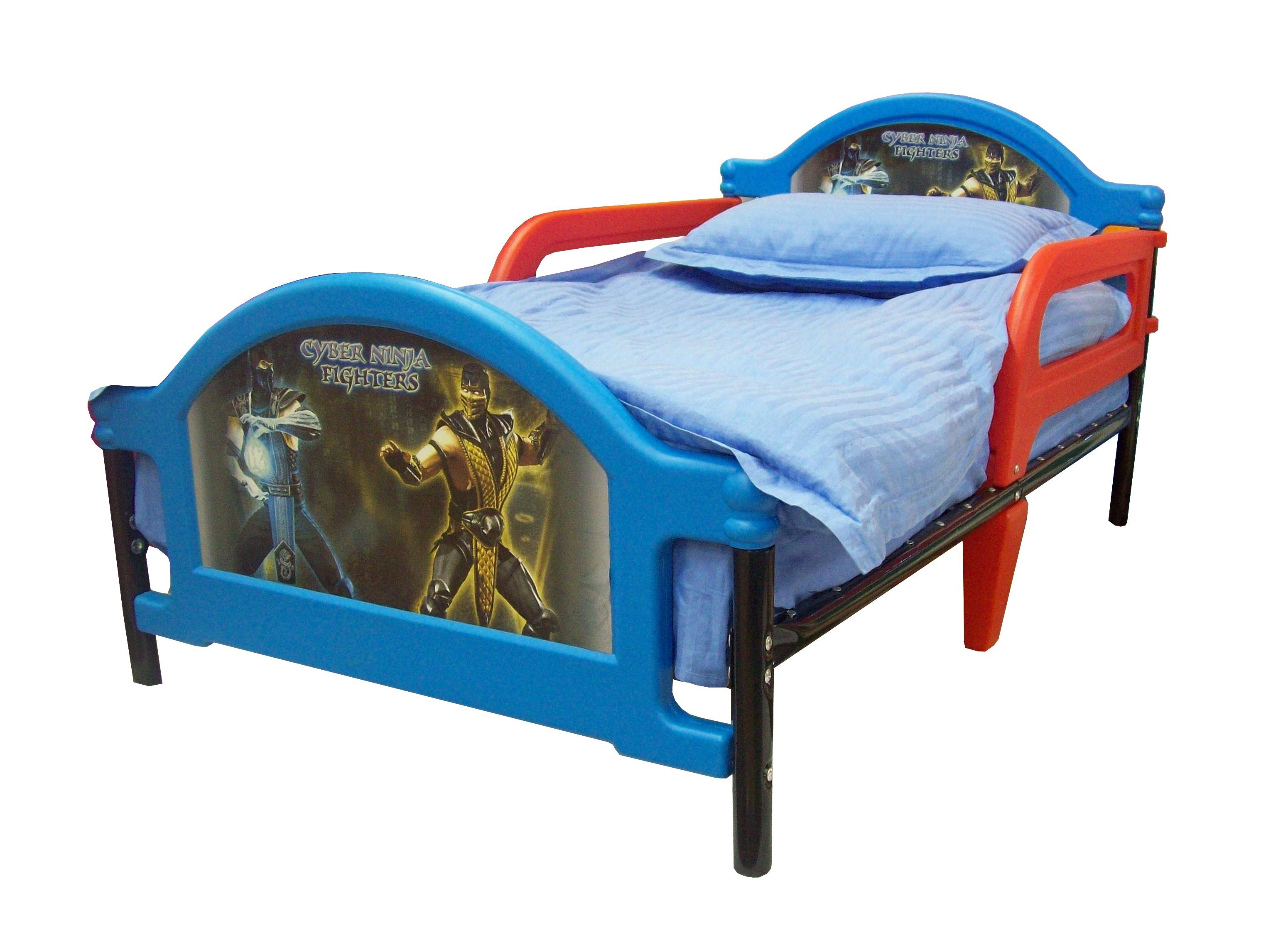Детская кровать  Джуниор Cyber Ninja Fighters, кровать Кибервоины Ниндзя для дошкольника, от 1,5 до 6 лет, металл, пластик. Кровать с комплектом: постельное белье, одеяло, подушка., Самая безопасная детская кровать для дошкольник
