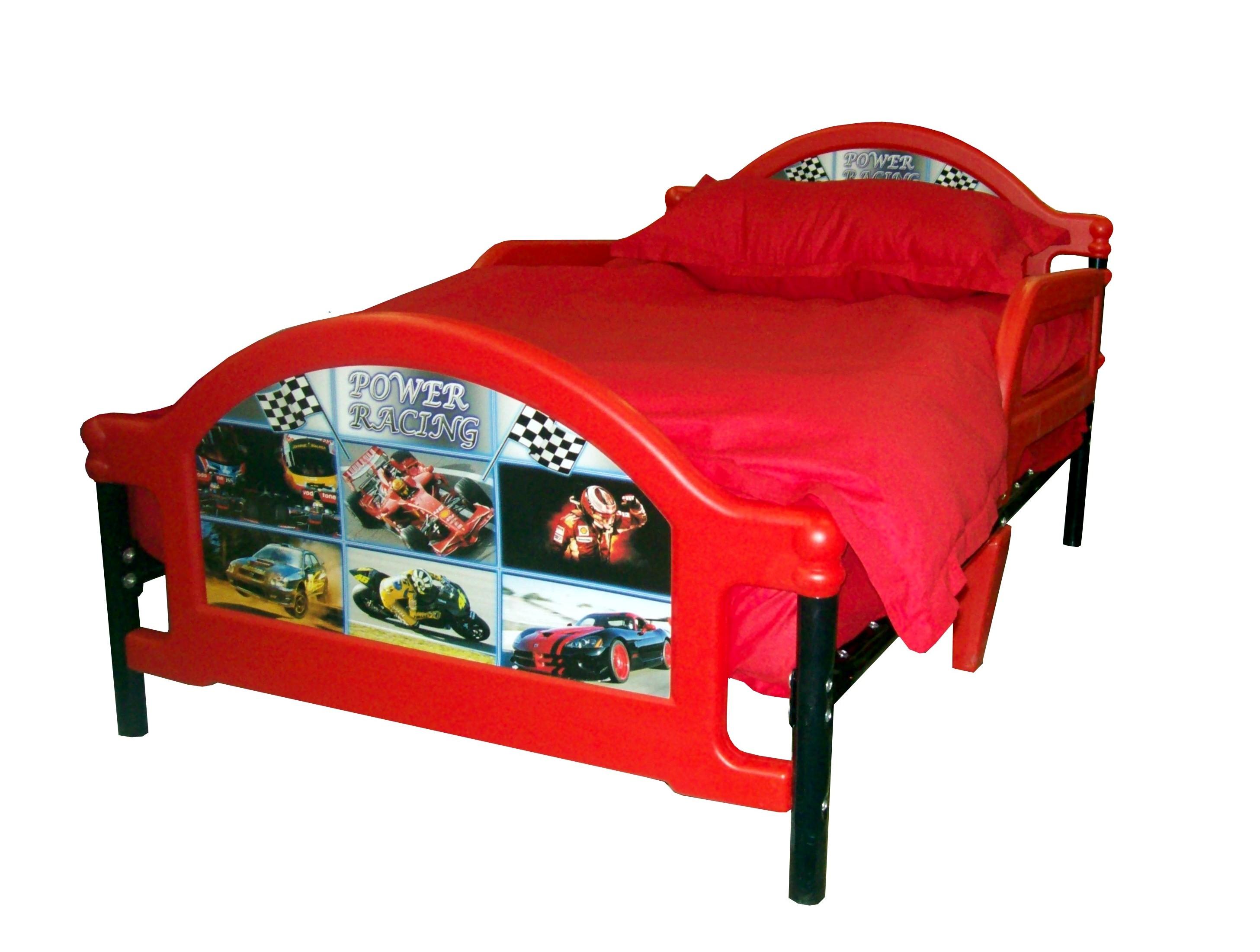 Детская кровать Джуниор  Power Racing - Тачки. Самая безопасная кровать для дошкольников и младших школьников в возрасте от 1,5 до 7-8 лет. Детская Кровать с защитными боковыми бортами, чтоб ребенок не упал во сне