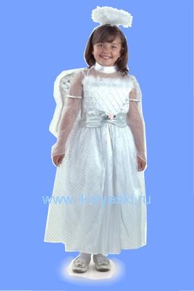 Детский карнавальный костюм Ангела, красивое белое платье с крыльями и  пушистым нимбом,  серии Карнавалия, фирмы Остров игрушки , на рост 122 и 134 см