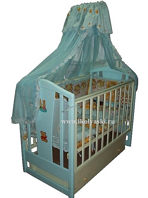 Детская кроватка Аленка МС-321, поперечный маятник, с  закрытым от пыли ящиком, 2 уровня ложа, автостенка