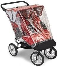 аксессуар для детской коляски: дождевик на детскую трехколесную прогулочную коляску от американского производителя, на коляску  Baby Jogger City Mini Double - Бэйби Джоггер Сити Мини Дабл для двойни