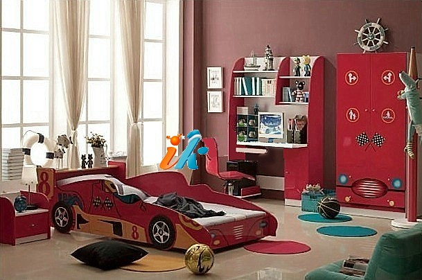 Детская кровать - Гоночная машина Формула 1 -  Racing Car F1, артикул 350, кровать для ребенка в возрасте от 3-х до 16 лет,  кровать машина из МДФ, цвета красный или синий, кровать-машина