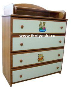 Комод с пеленальным столиком, Детский комод Тотоша-2, комбинированных цветов,  вишня +  слоновая кость + аппликация, натуральный массив дерева, сосна, производитель детской мебели АЦДМ, Архангельск