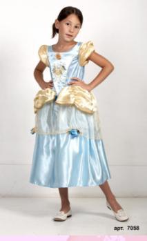 Детский карнавальный костюм  Принцесса Золушка, Голубое с золотым платье Синдереллы, костюм Дисней, карнавальный костюм героини сказки Шарля Перро