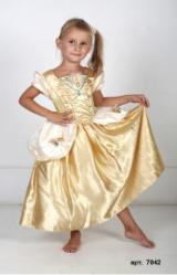 Детский карнавальный костюм Золотая Принцесса Золушка, Золотое платье Синдереллы, костюм Дисней, карнавальный костюм героини  сказки Шарля Перро