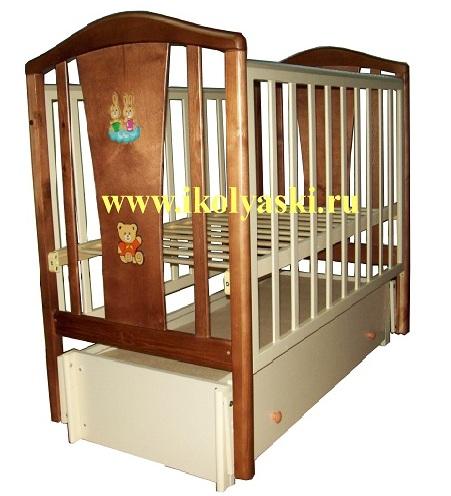 Огромный ассортимент детских кроваток для новорожденных, новинки детских кроваток, кроватки с универсальными маятниками, продольный и поперечный - два в одном,  Детская кроватка Алёнка МС-322, продольный маятник, закрытый ящик, 2 уровня ложа, автостенка, спинка с аппликацией, цвет орех+слоновая кость, АЦДМ, Архангельск