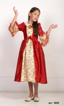 Детский карнавальный костюм, Красное платье Бэль, костюм Принцессы Бэль из мультфильма Уолта Диснея