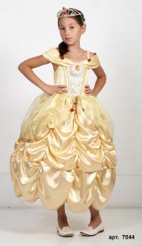 Детский карнавальный костюм Золотая Принцесса Бэль, золотое бальное платье принцессы Бэль - героини мультфильма Уолта Диснея Красавица и Чудовище, Walt Disney, артикул 7044, на 5-6, 7-8, 9-10 лет
