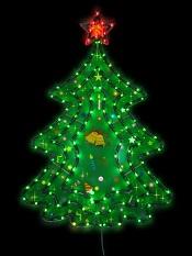электрогирлянда - панно Зеленая Елка с красной Звездой, размер 45х66 см, упакована в пакете, зеленый провод, артикул Е80004, фирма Snowmen