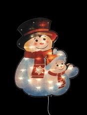 электрогирлянда-панно Снеговички, размер 37х45см, 30 лампочек, белый провод, поверхность панно с перламутровым переливающимся блеском. Работает от сети 220V, артикул Е91045, фирма Snowmen