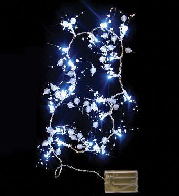 Новинка! Новогодняя электрогирлянда евро, на батарейках, 20 диодных лампочек LED, прозрачная ягодка, длина гирлянды 0,95 метра, упакована  в пвх, артикул Н67557, фирма Снегурочка.
