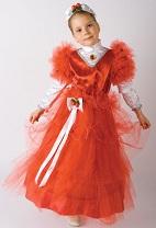 Детский карнавальный костюм Красавица, Аленький цветочек, костюм  Бусинки,  костюм Ягодки, красное бальное платье, костюм розы, розочки на 7 - 10 лет фирмы Шампания артикул Н68481.