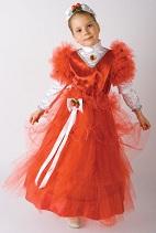 Детский карнавальный костюм Красавица, Бусинка,Аленький цветочек, розочка, Ягодка, красное бальное платье, костюм розы, костюм цветов на 4 - 6 лет, фирмы Шампания артикул Н68480