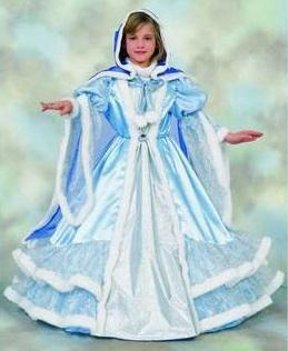 Костюм Снежной королевы. Детский карнавальный костюм,  в комплекте голубое длинное платье, накидка с капюшоном, артикул Н69969, фирма Шампания, на 4-10 лет