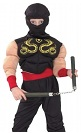 Детский карнавальный костюм Ниндзя с мускулатурой,  на 4-6, 7-10, 11-14 лет, фирмы Snowmen артикул Е70844