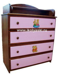 Комод с пеленальным столиком, Детский комод Тотоша-2, комбинированных цветов,  орех + розовый + аппликация, натуральный массив дерева, сосна, производитель детской мебели АЦДМ, Архангельск