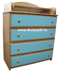 Комод с пеленальным столиком, Детский комод Тотоша-1, комбинированных цветов, бук + голубой, натуральный массив дерева, сосна, производитель детской мебели АЦДМ, Архангельск