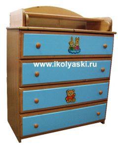 Комод с пеленальным столиком, Детский комод Тотоша-2, комбинированных цветов, бук + голубой + аппликация, натуральный массив дерева, сосна, производитель детской мебели АЦДМ, Архангельск