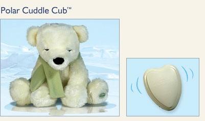 Полярный медвежонок, детская мягкая игрушка с нежным вибрирующим сердцебиением, игрушка  для релаксации и сна, натуральное соевое волокно и наполнитель, производство американской компании Cloud B - Клауд Би