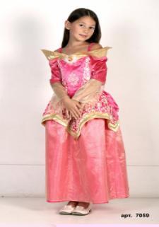 Детский карнавальнй костюм Золотая Принцесса Спящая Красавица, розовое с золотым бальное  платье принцессы Авроры, героини мультфильма Уолта Диснея