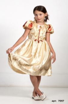 Детский карнавальный костюм Золотая принцесса Белоснежка, бальное платье Белоснежки, героини мультфильм Уолта Диснея Белоснежка и семь гномов, артикул 7041