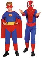 Карнавальный костюм двусторонний, костюм-трансформер, костюм Человек-Паук и Супермен, Спайдермен и Супермен,  2 в 1,  на 4-6, 7-10, 11-14 лет, артикул Е80742, фирма Snowmen