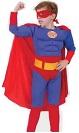 Лапландия,  Костюм Супермена с мускулатурой, детский карнавальный костюм персонажа фильма Супергероя Super Hero, артикул 87129-S,  код 11397, фирма Лапландия, на 4-6 лет