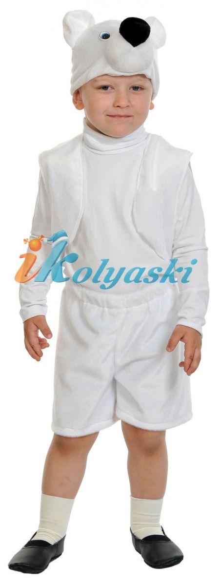 Костюм Белого медведя Лайт, костюм Полярного медведя, костюм Белого мишки плюш, размер единый, рост 92-122 см, на 2-6 лет. В комплекте: шорты, жилет, шапка